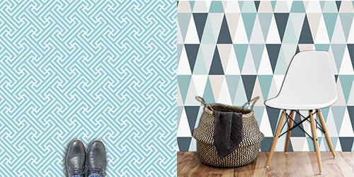 Geometric wallpapers and floorcovering from For the Floor and More