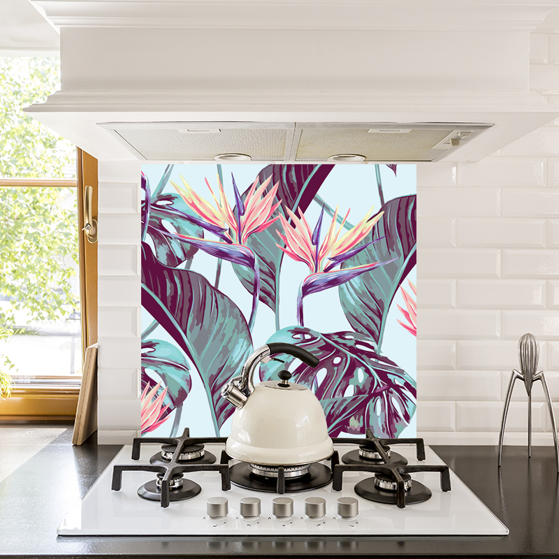 Paradise pattern large-scale floral kitchen glass splashback from forthefloorandmore.com