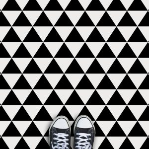 Black Triangle geometric pattern printed vinyl flooring exclusive from forthefloorandmore.com