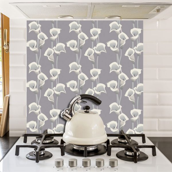 Calla Grey printed glass kitchen splashback exclusively from forthefloorandmore.com