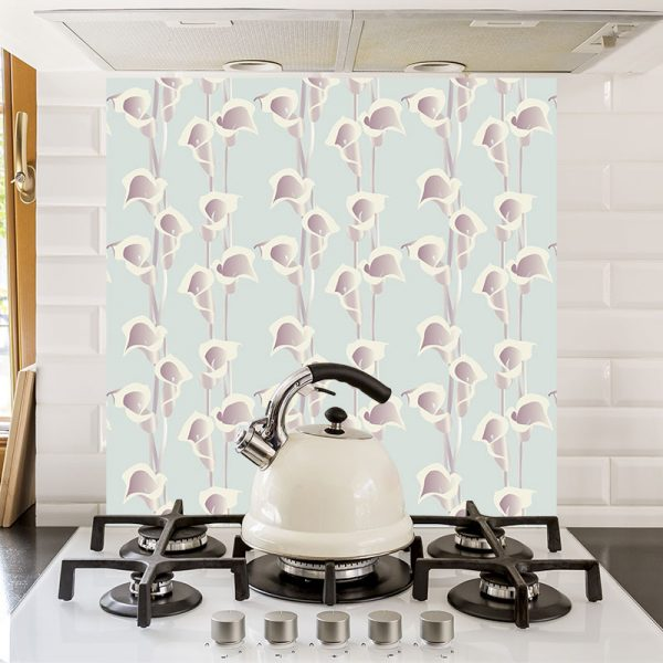 Calla Light printed glass kitchen splashback exclusively from forthefloorandmore.com
