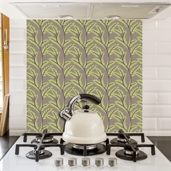 Fern botanical printed glass kitchen splashback exclusively from forthefloorandmore.com