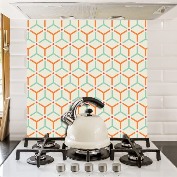 Hex printed glass kitchen splashback exclusively from forthefloorandmore.com