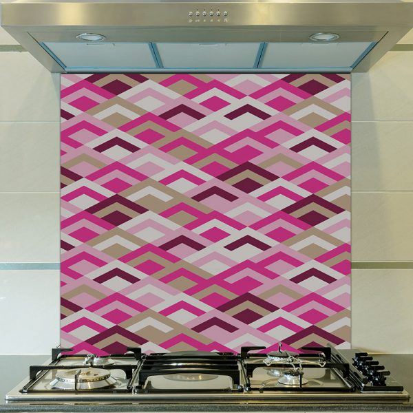 Image of Kaleidoscope Purple pattern design as a printed glass splashback from forthefloorandmore.com
