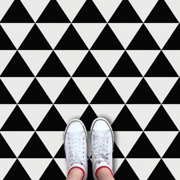 Black Triangle pattern printed geometric flooring exclusively from forthefloorandmore.com