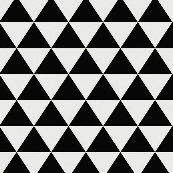 Image of Black Triangle design vinyl flooring and splashback from For the Floor & More