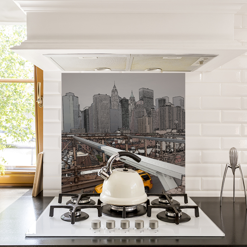 Image of New York city skyline design patterned glass splashbacks from forthefloorandmore.com