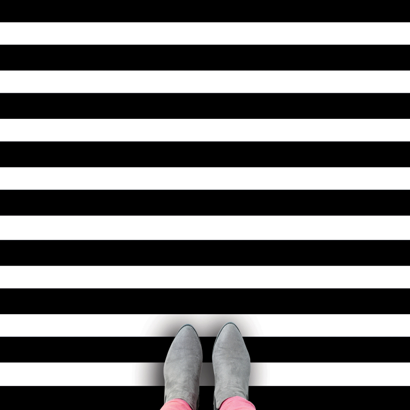 Black Stripe black and white vinyl flooring available from forthefloorandmore.com at up to 2.9m wide and shipped fast
