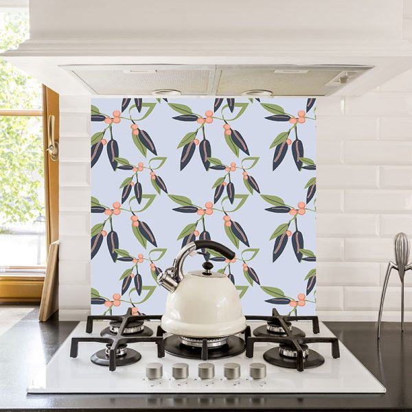 Coral Vine printed glass kitchen splashback from For the Floor & More