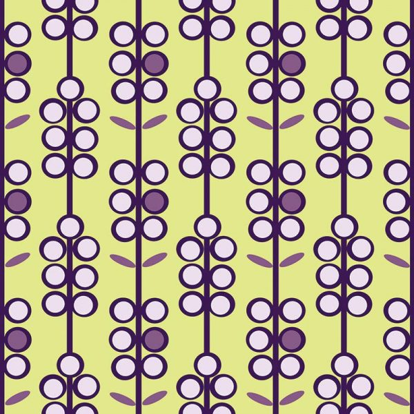 Image of Lilac Berries retro colour pop glass splashback, Feature Tile or funky wallpaper