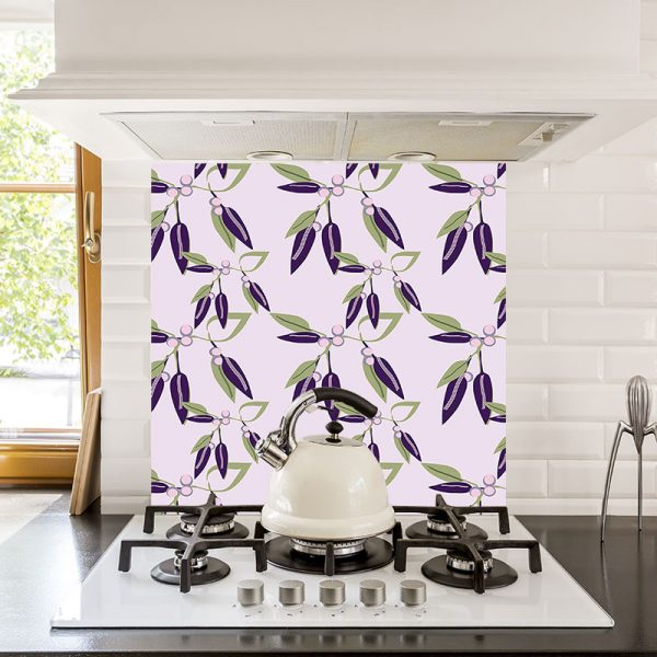 Viola Vine glass kitchen splashback from For the Floor and More