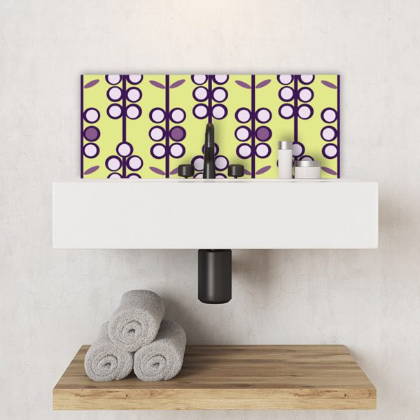 Image of Lilac Berries retro colour pop printed glass Feature wall Tile