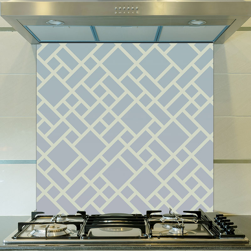 Image of Grafyx bold geometric design with a subtle ombre colour fade. Unique glass splashback design from forthefloorandmore.com