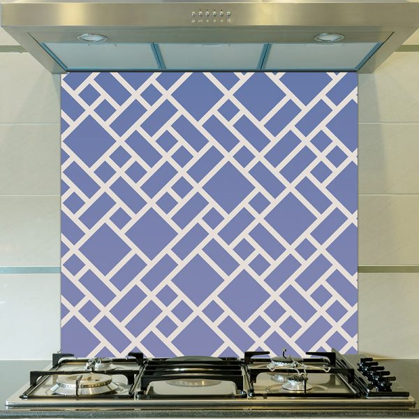 Image of Grafyx blue bold geometric design with a subtle ombre colour fade. Unique glass splashback design from forthefloorandmore.com