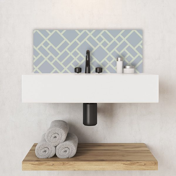 Image of Grafyx bold geometric design with a subtle ombre colour fade. Unique glass Feature Tile design from forthefloorandmore.com