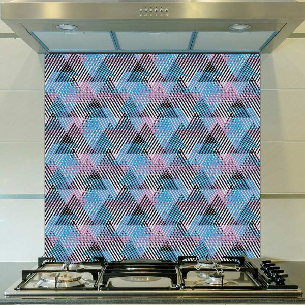 Alata pattern glass printed kitchen splashback