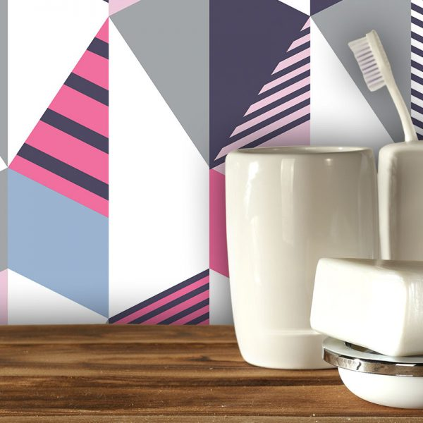 Cibic geometric design by Mort & Hex available as a kitchen splashback, wallpaper, glass Feature Tile and vinyl flooring