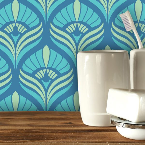 Cequin art deco coloured pattern - beautiful colours and patterns and available as a printed glass kitchen splashback, feature tile, or wallpaper mural from forthefloorandmore.com