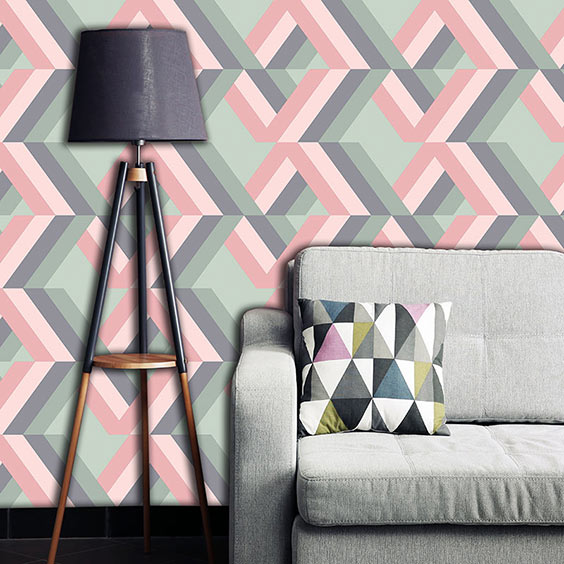 Grafyx Pink wallpaper exclusive to forthefloorandmore.com