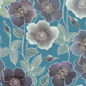 Ila large scale floral design by Rose Quartz and available through For the Floor and More