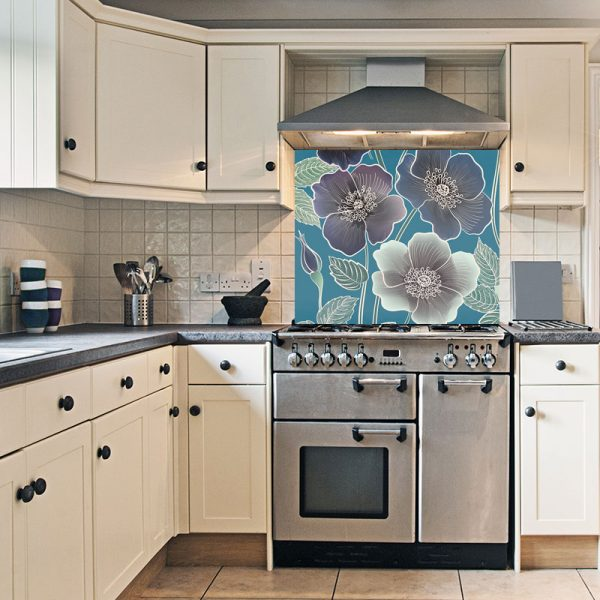 Ila large scale floral design patterned kitchen glass splashback by Rose Quartz and available through For the Floor and More