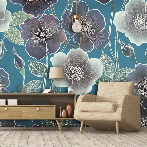 Ila large scale floral wallpaper mural design by Rose Quartz and available through For the Floor and More