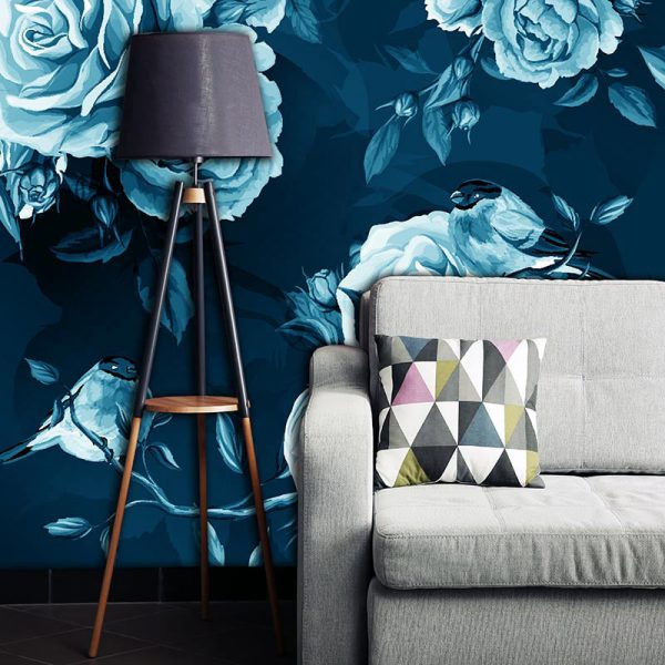 Petal in Blue made to measure bespoke wallpaper mural available from for the floor and more