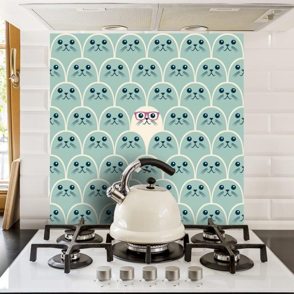 Petite Phoque children's pattern designed to uplift any kid's room as a charming made to measure wallpaper mural or as a quirky feature tile or kitchen splashback