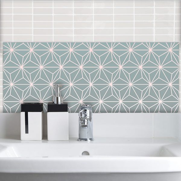 Image of Austaar gradient geometric Feature Tile exclusive to forthefloorandmore.com UK for bespoke printed and coloured glass kitchen splashbacks