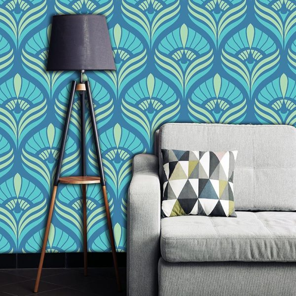 Cequin art deco wallpaper pattern - beautiful colours and patterns and available as a printed glass kitchen splashback, feature tile, or wallpaper mural from forthefloorandmore.com