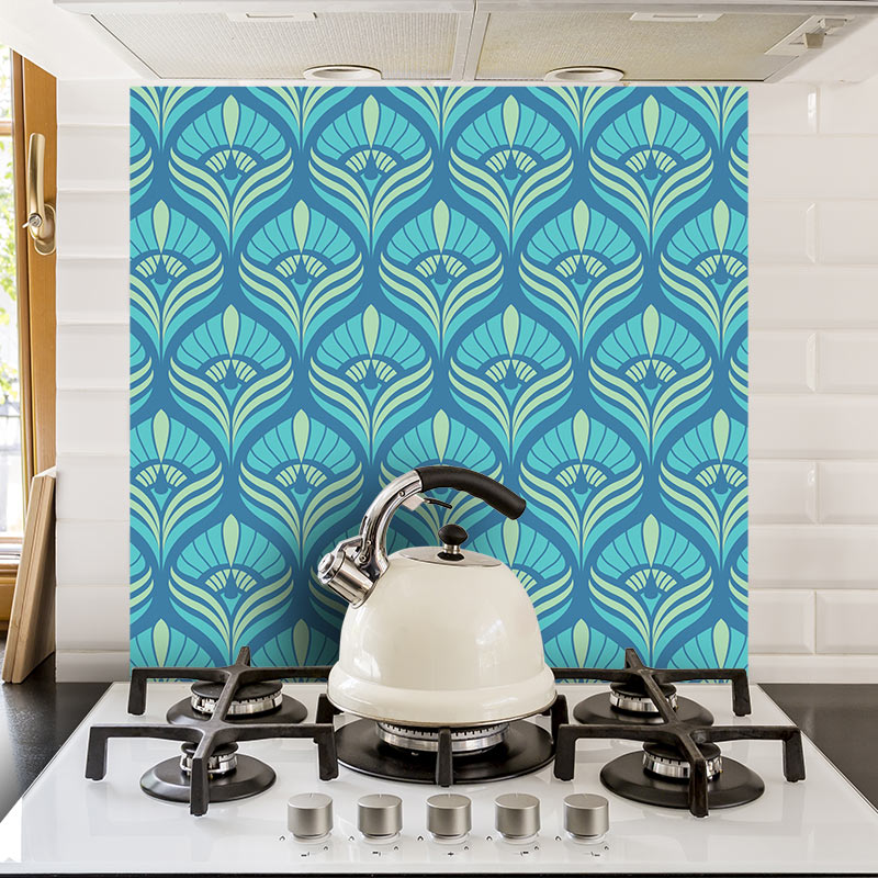 Image of Cequin art deco pattern - beautiful colours and patterns and available as a printed glass kitchen splashback, feature tile, or wallpaper mural from forthefloorandmore.com