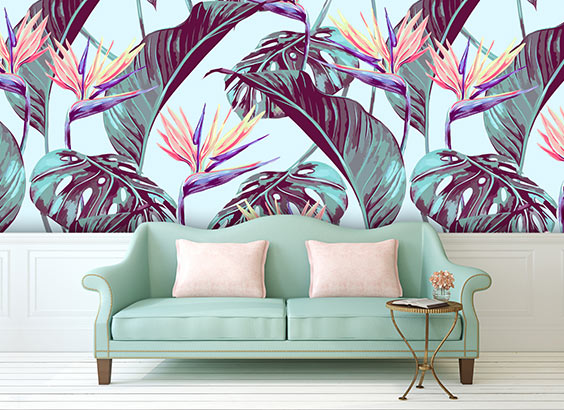 Paradise bespoke wallpaper mural tropical botanical floarl designs from forthefloorandmore.com