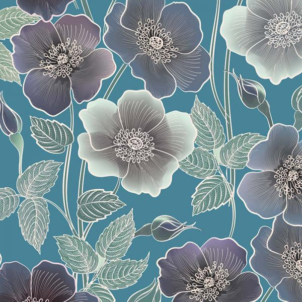 Image of Ila large scale floral design by Rose Quartz and available through For the Floor and More