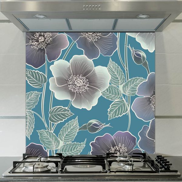 Image of Ila floral patterned glass splashback available from forthefloorandmore.com