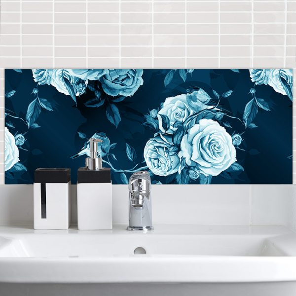 Image of exquisitely detailed floral Petal in Blue Feature Tile from forthefloorandmore.com