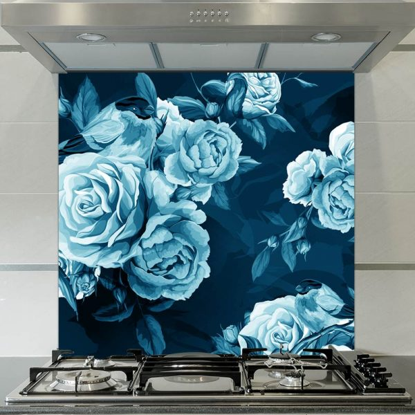 Image of Petal in Blue floral patterned glass splashback available from forthefloorandmore.com