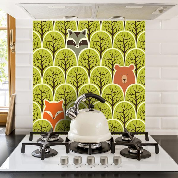 Renard et Ours pattern design for bespoke UK wallpaper murals kitchen splashbacks and feature tiles direct and made to measure from for the floor and more