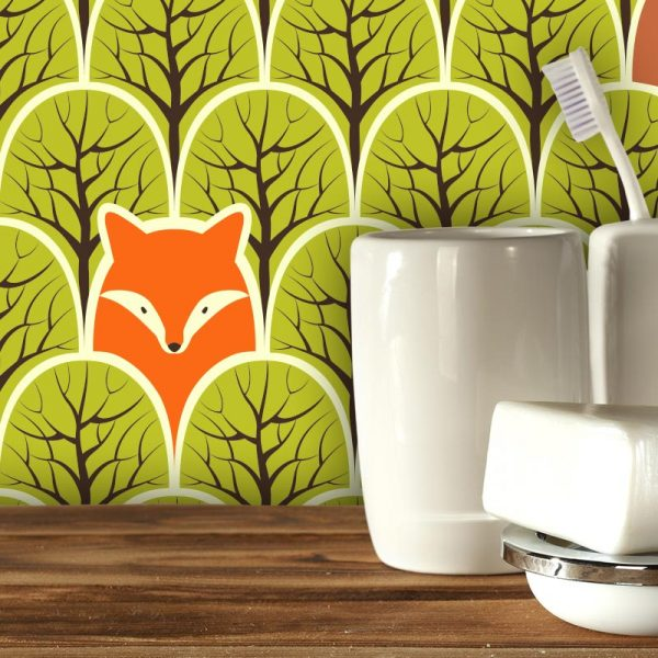 Renard et Ours pattern design for bespoke UK wallpaper murals kitchen splashbacks and feature tiles direct and made to measure from forthefloorandmore.com