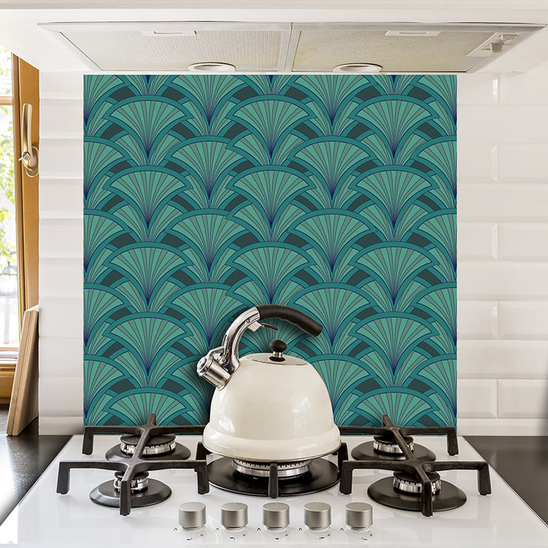 Image of Decoresse art deco pattern - beautiful colours and patterns and available as a printed glass kitchen splashback, feature tile, or wallpaper mural from forthefloorandmore.com