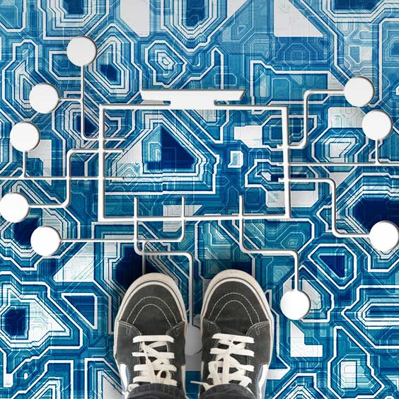Innovative custom printed vinyl flooring as a computer motherboard for office, commercial and home use from forthefloorandmore.com