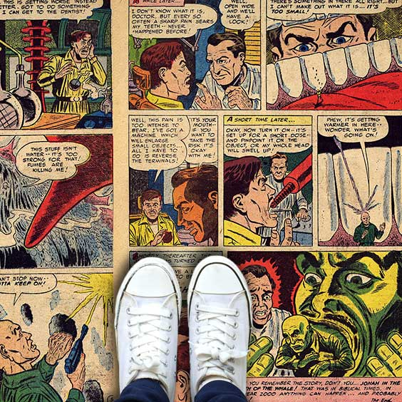 Innovative custom printed vinyl floor covering as a comic book for office, commercial and home use from forthefloorandmore.com