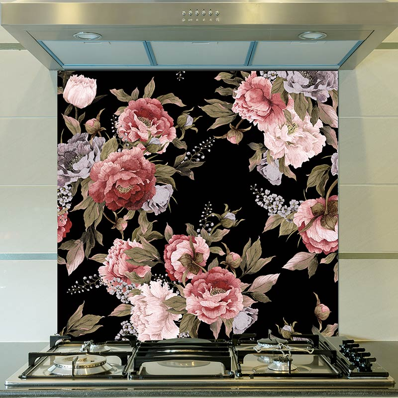Image of Freya design dark moody splashback from forthefloorandmore.com