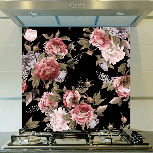 Freya dark floral pattern design. Moody and deep, Freya simply adds drama as a made to measure wall mural, kitchen glass splashback or a large format feature tile