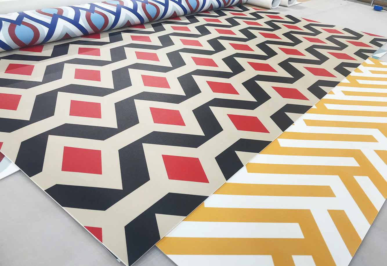 Image showing the rolls of pattern vinyl flooring produced by For the Floor and More