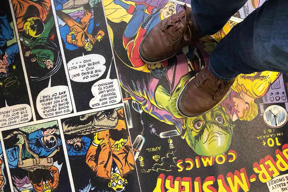 Image showing a custom comic book flooring by forthefloorandmore.com
