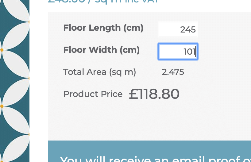 Image showing how to add your room dimensions to our patterned vinyl flooring calculator