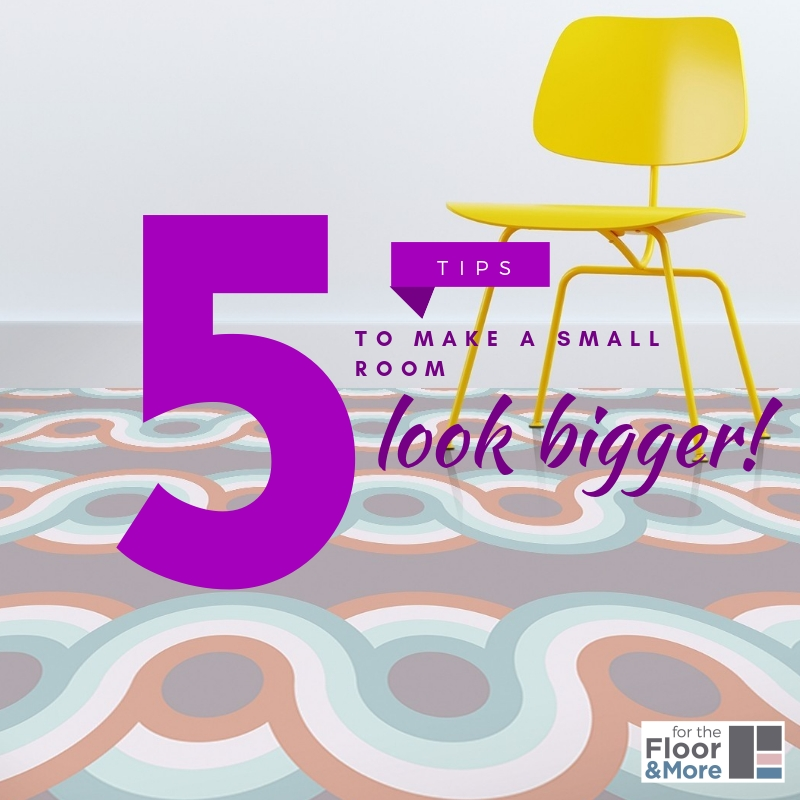 Image used in a blog post explaining 5 tips to use patterned vinyl flooring to make a small room look bigger