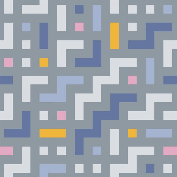 Image of Camden vinyl flooring pattern - an abstract geometric colourful design exclusive from forthefloorandmore.com