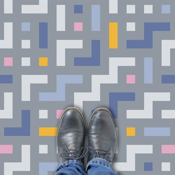 Camden pattern printed geometric flooring exclusively from forthefloorandmore.com