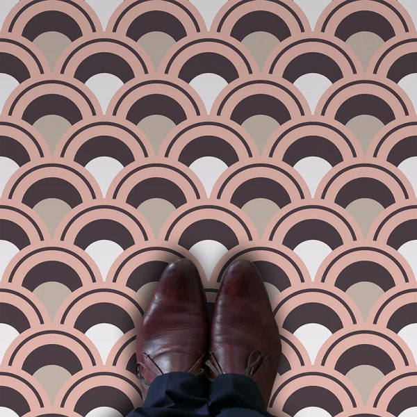 Arch fish scale pastel coloured geometric vinyl flooring pattern exclusive to forthefloorandmore.com